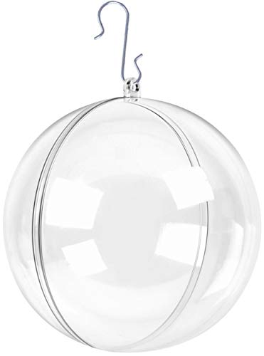 Zilo Novelties Clear Fillable Christmas Ornaments Large Clear Ball 100mm | Clear Ornaments for Crafts | Fillable Ornament Balls | Pack of 10 Christmas Ball Clear Plastic Ornaments for Christmas