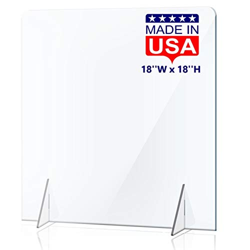 NO Cutout Sneeze Guard for Counter and Desk - NO Hole Freestanding Clear Acrylic Shield for Business and Customer Safety, Portable Plexiglass Barrier for School Desk, Office Table (18'W x 18'H)