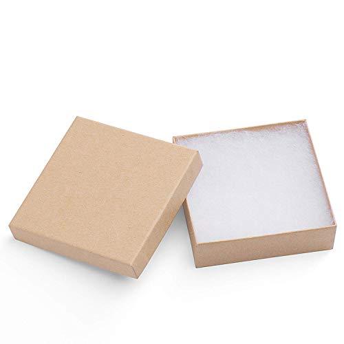 Switory 20pcs Schmuck Geschenkboxen, 9x9x2,5cm kleine quadratische Geschenkpapierboxen für Armband Pappe Halskette Anhänger Boxen mit Baumwollflusenpolsterung-Holzfarbe
