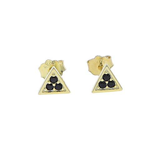 Yhhzw Pendiente Triangular Negro De Geometría Mínima De Plata De Ley 925 Para Mujer, Regalo Clásico Para Fiesta De Niña Linda, Color Dorado