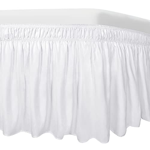 Easy-Going Bed Skirt for Queen or King Size Bed, 18 Inch Tailored Drop, Fitted with Adjustable Elastic Belt, Convenient to Use Without Lift The Mattress (Queen/King, White)