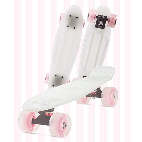FANGNVREN Mini Cruiser Skateboard, Complet Skateboard Rétro Plastic 22' (57cm) X6 (15cm) Silencieux Roulement ABEC-11 pour enfan débutants, Adolescents, Filles, garçons Cadeau d'anniversaire,Blanc