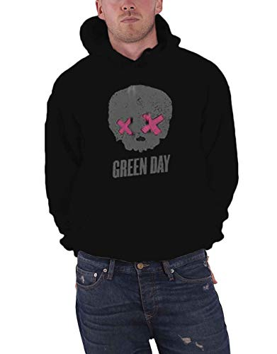 Green Day Hoodie Band Logo American Idiot Skull Official Mens Pullover Size XXL Black