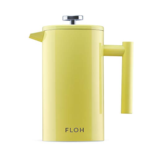 FLOH French Press for Coffee & Tea in Yellow - 34 Oz Insulated Stainless Steel Coffee Maker