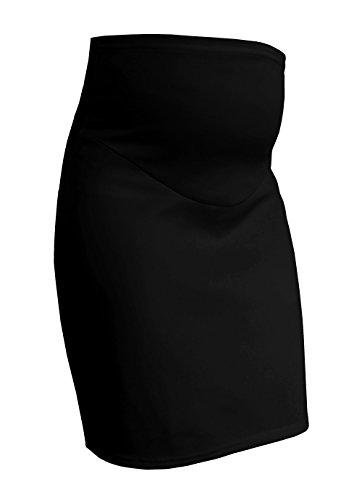 Smarternity Bleistiftrock für Schwangerschaft, einfarbig Gr. 42, Schwarz