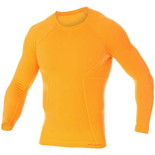 BRUBECK Herren Langarmshirt Merinowolle I Snowboard Unterwäsche kühlend & wärmend I Skiunterwäsche für Männer I Sport I Mens Long Sleeve I 41% Merinowolle I Gr. XL, Orange I Active Wool