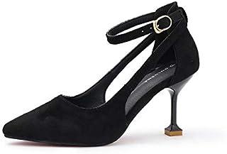 HRCxue Zapatos de la Corte Boca Baja Estilete Puntiagudos Tacones Altos Boca Baja Estilete Puntiagudo Zapatos Hembra Negro