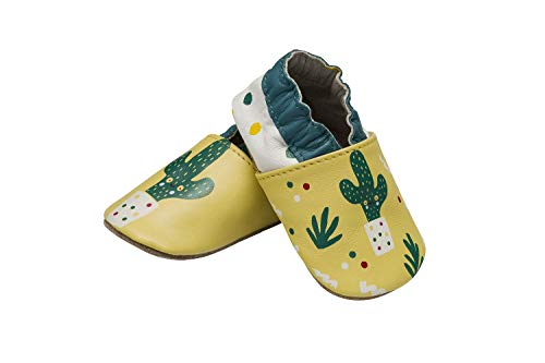Zapatos de bebé con suela de ante antideslizantes, botines para bebés, niñas y niños de 0-24 meses, cuero suave, zapatillas para primeros pasos (20/21 12-18 Meses, Cactus)