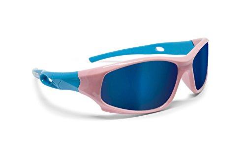 Bertoni Occhiali Sportivi Bambino Polarizzati Antiriflesso 100% Protezione UV - Unisex Flessibili e Ultraleggeri - Kid by (Rosa/Azzurro)