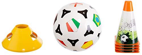 Brandsseller Kinder Fussball Trainings Set Strandset Rasenset Spielset - 1 Fußball -4 Markierungshütchen - 4 Pylonen
