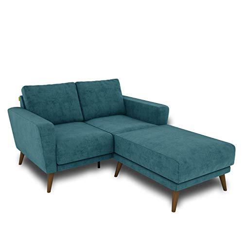KAUTSCH Lotta Zweisitzer Sofa für Wohnzimmer zerlegbar - Couch 2-Sitzer - Polstersofa - B 144 cm - Longchair rechts - Petrol - Holzfüße Farbton Nussbaum
