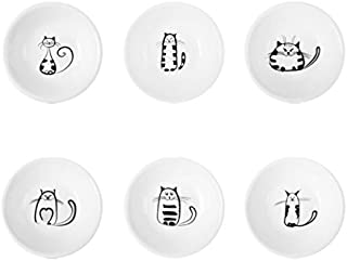 Astra Gourmet Set of 6 Cat Pattern Ceramic Mini Side Sauce Dishes/ Condiment Dishes/ Dipping Spice Dishes/ Snack Serving Dishes
