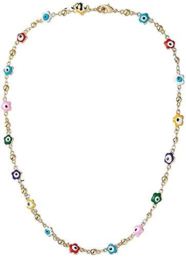 LBBYMX Co.,ltd Collar Alá Collar Ejalvated Eye Blue para Mujeres joyería Musulmana Collar de Ojo Azul Turco Collar Chapado en Oro