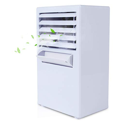 Vshow Personal Air Cooler, Mini Air Conditioner, Portable Air Cooler,Cold Air Fan| Misting Bladeless Quiet Cooling Desk Fan - Upgrade Version White