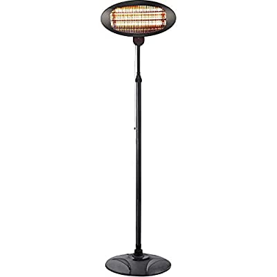 Electric Outdoor Patio Heater-3 Power Levels Outdoor Heater for 500/1000W/1500W Infrared Carbon Tube Heater Overheat Protection &Tip-Over Shut Off Freestanding Space Heater for Courtyard, Garage