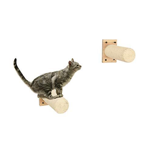 2 piezas Sisal Rascador, Montado en la pared Raspador con Base, Compatible con Árbol del gato, Escaleras de gato, Pasos de escalada del gatito, Escalera de estantería de gatito, hecho a mano 25cm