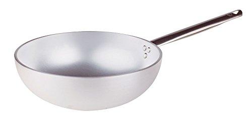 Pentole Agnelli wok met vlakke bodem, aluminium, met roestvrijstalen handgreep, zilver