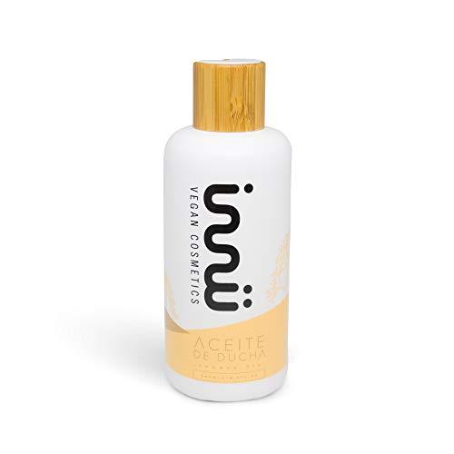 Innu Vegan - Aceite de Ducha - 250ml - Aceite corporal nutre e hidrata la piel - Ingredientes naturales - Aceite esencial de Almendras y de Caléndula - Vegano y Cruelty Free - Vegan Society