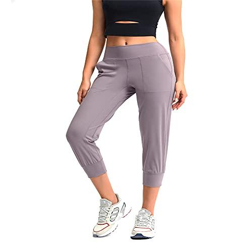 SUNDAY ROSE Pantalones de yoga para mujer, cintura alta, pantalones deportivos de longitud 3/4 con bolsillos