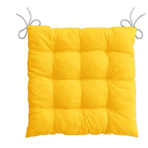 LILENO HOME 1er Set Stuhlkissen Gelb (40x40x6 cm) - Sitzkissen für Gartenstuhl, Küche oder Esszimmerstuhl - Bequeme UV-beständige Indoor u. Outdoor Stuhlauflage als Stuhl Kissen