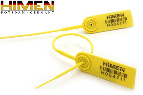 100x PLOMBEN aus Kunststoff mit Metall-Inlay von HIMEN | fortlaufend nummeriert | mit BARCODE | Länge 230 mm | MPS-230C | Seals | yellow