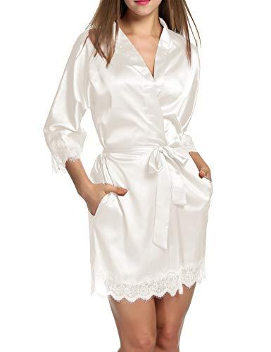 Unibelle - Bata de satén para mujer, sexy, con bolsillos, falda corta con cinturón, camisón para novia, ropa de noche con encaje de flores A_blanco. M