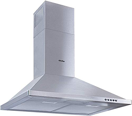 Simfer CH8662 Dunstabzugshaube 60cm 400 m³ /h | Edelstahl Wandmontage Abzugshaube | Wandhaube | Abluft & Umluft | Doppelabluftschacht | LED-Beleuchtung