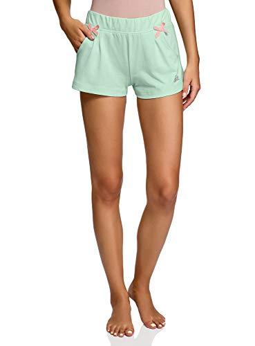 oodji Ultra Mujer Pantalones Cortos de Estar por Casa con Inscripción