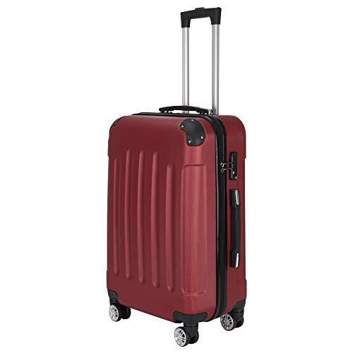 ZHANG 3-in-1 Portable ABS Trolley Case 20' / 24' / 28' Wine Red