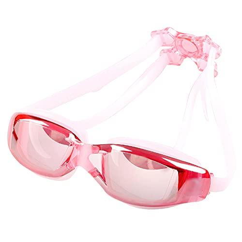 LIMESI Gafas de Natación Antivaho Dobles, Gafas para Nadar con Polarizada HD sin Fugas Protección UV Correa de Silicona Ajustable para Espejo Pink