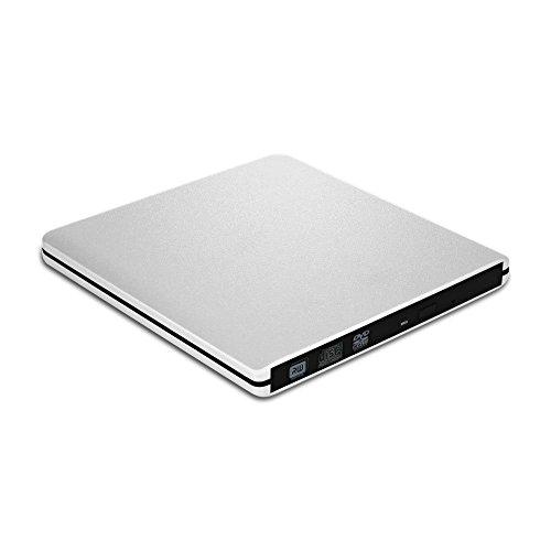 VersionTECH. Grabadora Lector CD/DVD USB 3,0 Ultra Slim Portátil Unidad Externa Burner Lector Óptico CD/DVD/-RW/-RW SuperDrive para MacBook/MacBook Air/MacBook Pro/iMac/Windows/Mac OSX (Plata)