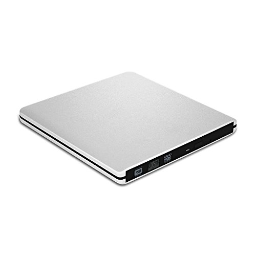VersionTECH. Grabadora Lector CD/DVD USB 3,0 Ultra Slim Portátil Unidad Externa Burner Lector Óptico CD/DVD/-RW/-RW SuperDrive para MacBook/MacBook Air/MacBook Pro/iMac/Windows/Mac OSX (Plata)