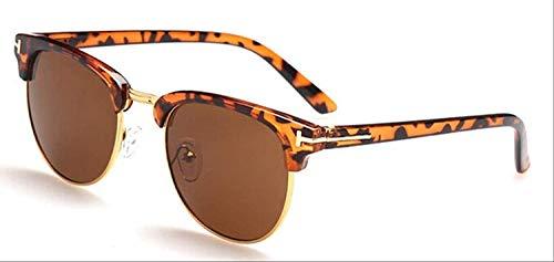 8bayfa Sonnenbrille, mittelgroß, Metallbrille für Frauen, Rahmen für Herren Brillen, Rahmen Vintage Brille, quadratische Brille, Optische Brille, Leoparden-Tee
