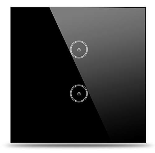 Jinvoo Smart Wi-Fi Wall Light Schalter,EU 2 gang panel switch-black,Smart Timing-Schalter,Fernbedienung Lichtschalter,Kompatibel mit Alexa Echo und Google Assistant
