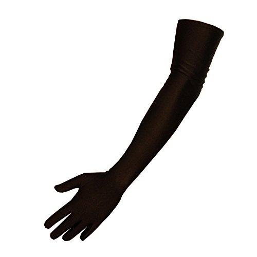 Lange Satinhandschuhe - Damen - One Size - Schwarz