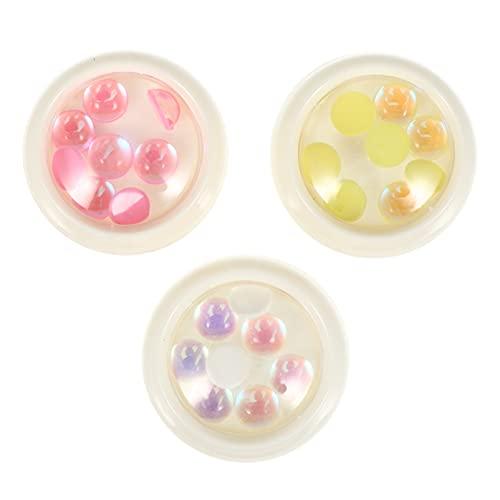 Lurrose 3 Cajas Coloridas Uñas Arte Tachuelas Decoración de Manicura DIY Accesorio de Uñas