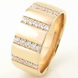 [ジュエリーアイ]Jewelry i 指輪 10金 ダイヤモンドリング 幅広 イエローゴールドK10 ピンキーリング ギフト 10号