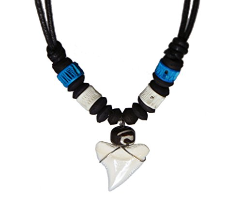 Exoticdream Real Shark Tooth Necklace Reggae Rasta Jamaican Surfer Hawaiian Beach Boys Girls Men - Blue White Bone