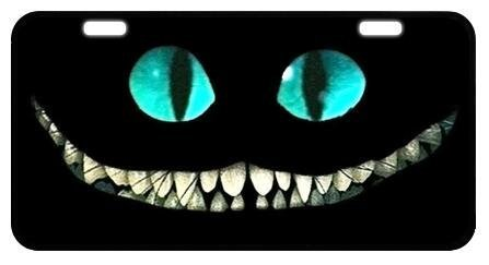 """Blinking license plate Along and Cheshire Cat Smile Face Custom License Plate Holder Durable Car Tag 11.8"""" X 6.1"""" Inches with 2 Holes"""
