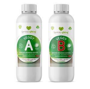 Symbioethical Veggy A + B - 500ml + 500ml - CONCIME VEGETALE Biologico Universale con Microelementi, estratto di lievito e alghe Brune per ortaggi Indoor e Outdoor - Agricoltura Biologica