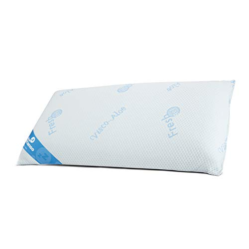 Don Descanso Almohada Viscoelástica Gel Fresh con Copos 100% Viscoelásticos,70cm, Firmeza Media y Ergonómica. Almohada 70 Transpirable con Tejido Strech Adaptabilidad. Fabricada en España