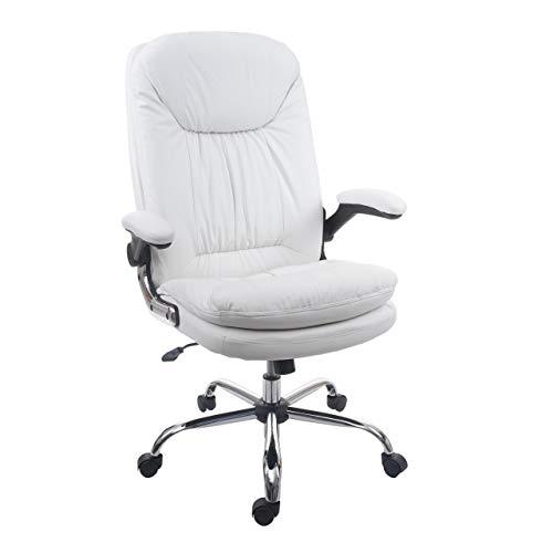 Mendler Bürostuhl HWC-F81, Schreibtischstuhl Chefsessel Drehstuhl, Federkern Kunstleder ~ weiß