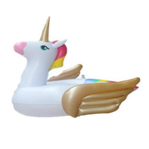 SENFEISM Unicornio de seguridad inflable piscina flotador asiento paseo en el anillo de natación colchón de aire agua fiesta juguetes para niños