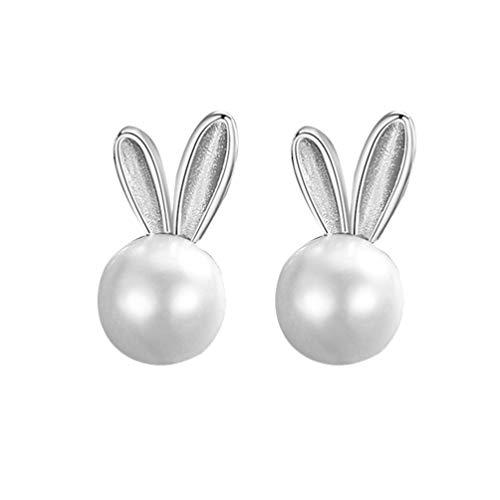 Desconocido Genérico 1 par de Pendientes de Conejo para Mujer S925 Pendientes de Conejo de Plata Pendientes de Conejo Perla Joyería para Mujer Joyería de Pascua