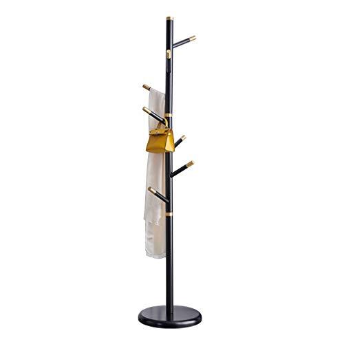 Perchero de pie Nordic simple Escudo de madera sólida del bastidor capa de la chaqueta bolso de la suspensión del árbol de roble sombrero Balcón de secado del soporte con el sostenedor capa base redon