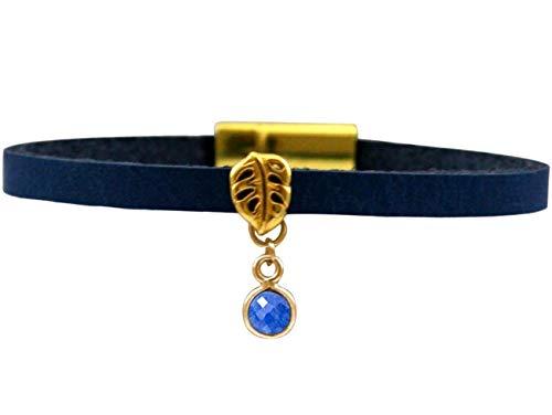 Gemshine Damen Lederarmband mit blauem Saphir und Blattmotiv. Silber, hochwertig vergoldet oder rose - Nachhaltiger, qualitätsvoller Schmuck Made in Germany, Metall Farbe:Silber vergoldet