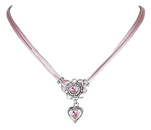LUISIA® Halskette Chiara mit Herzblüte, Strassherz und Kristallen von Swarovski® - Rosa