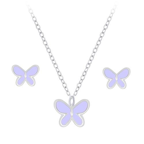 Laimons Pendientes infantiles de mariposa lila de 6 mm y cadena de 36 cm más 5 cm de extensión con...