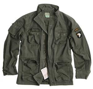 Vintage Airborne chaqueta de campaña oliva lavado S - XXL - OLIVA, S