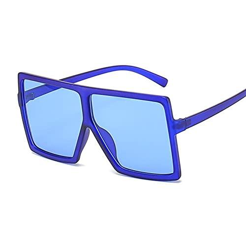 Gafas De Sol Mujeres Gafas De Sol Mujer Plaza Plana Top Gafas De Sol De Lujo Vintage Uv400 Sunglass Shoes Gafas-Dark Blue